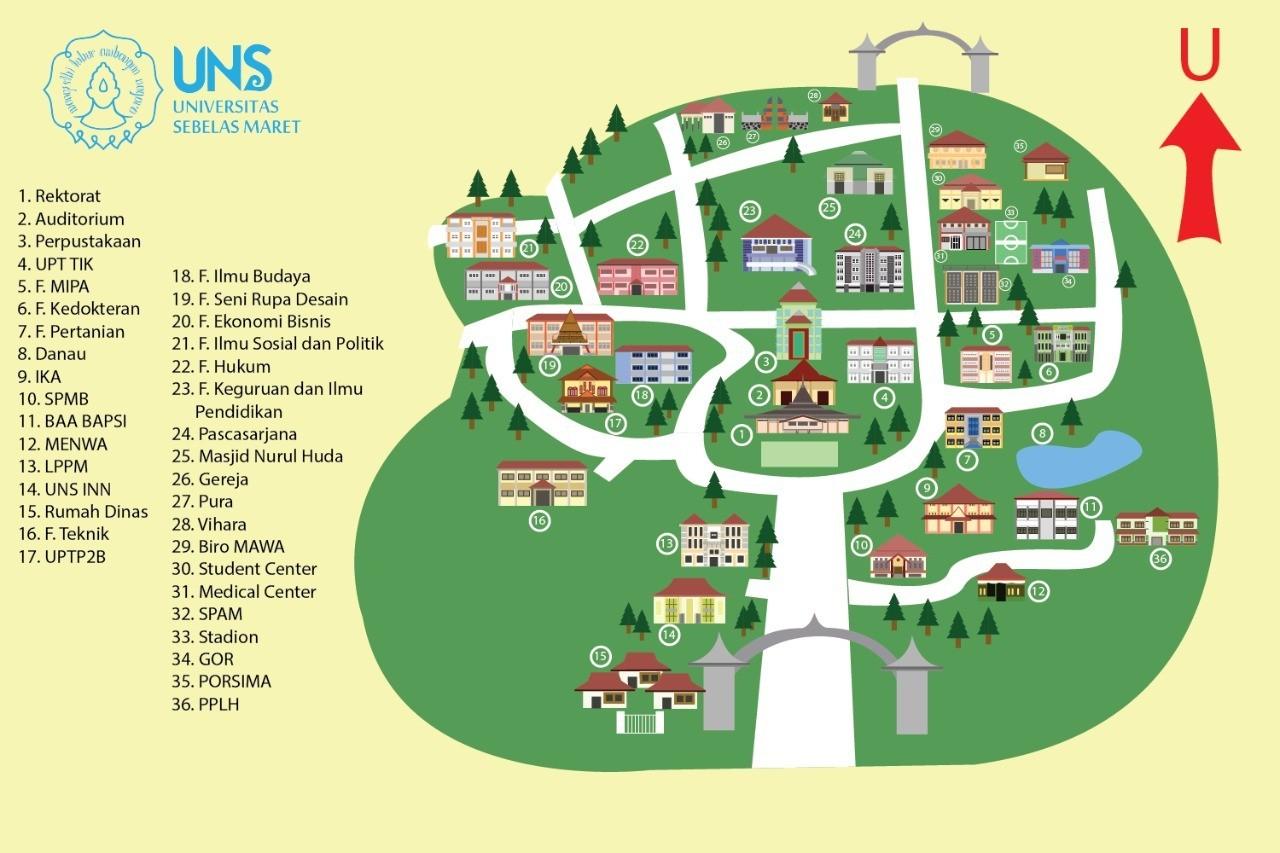 Campus Map of Universitas Sebelas Maret (UNS) Surakarta