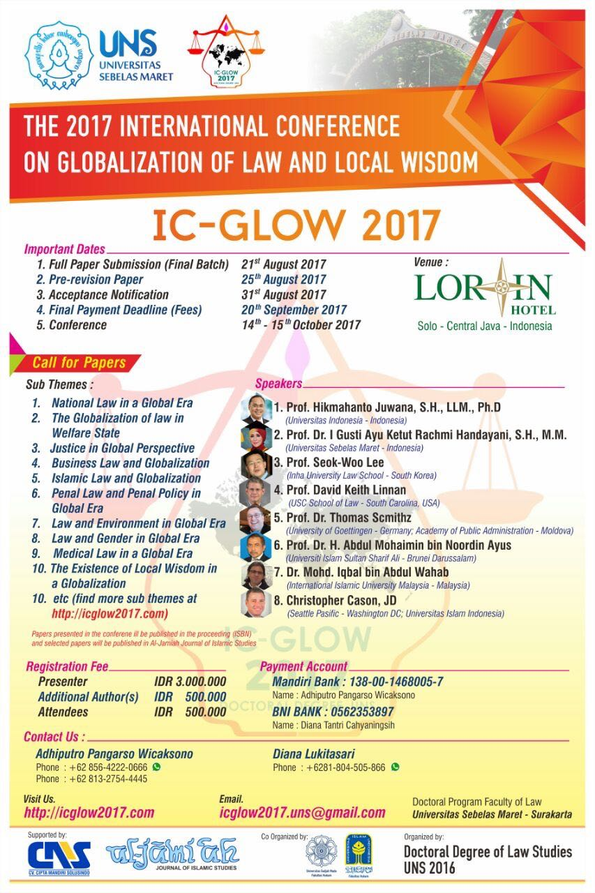 The 2017 International Conference on Globalization of Law and Local Wisdom