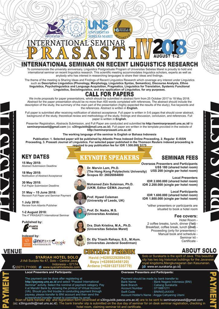 The 4th Prasasti International Seminar on Linguistics