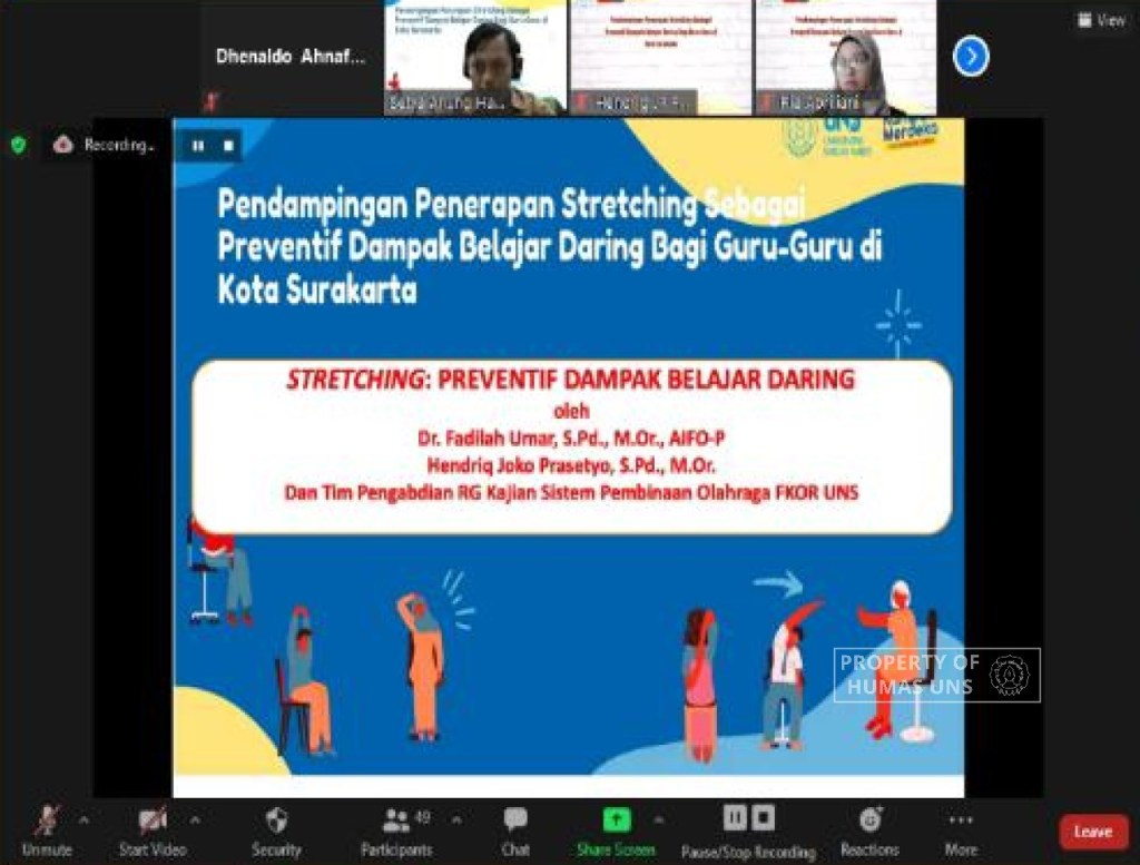 Stretching as Prevention on Virtual Learning Impact, Assistance for Teachers in Surakarta