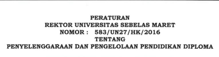 peraturan rektor uns nomor 583/UN27/HK/2016